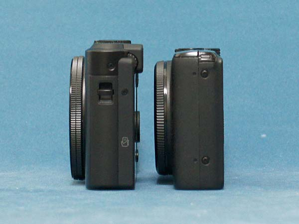 Side of a Panasonic LF1 camera compared to a Canon S95