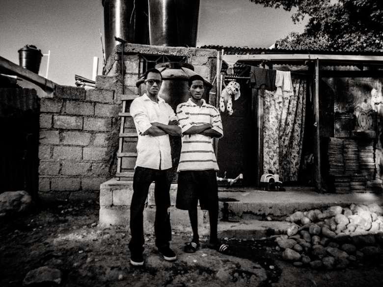 street photograph of two haitian men standing