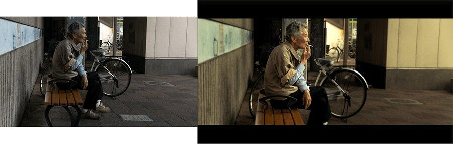 cinematic street photography before after