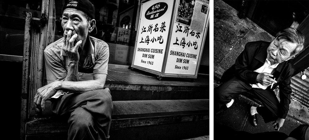 Portraits of two men smoking in chinatown, New York